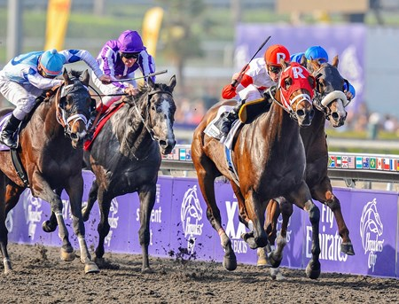 Furthest Land and jockey Julien Leparoux  overpower their opponents in the Grade I Breeders' Cup Dirt Mile at Santa Anita Park on November 7, 2009.