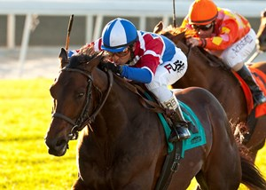 Winning Prize and jockey Rafael Bejarano cruise to victory in the Grade I $200,000 Arcadia Stakes at Santa Anita Park in California.