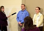 Surgeon Dr. Brett Woodie, center, and Dr. Bonnie Barr ,right, answer questions from the media regarding Rachel Alexandra.