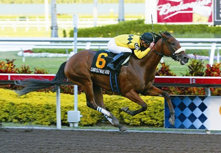Christmas Kid #6 with Rene Douglas riding won the $150,000 Davona Dale Stakes at Gulfstream Park in Hallandale, Florida.