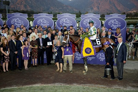 The connections of Mucho Macho Man in the winner's circle after the Breeders' Cup Classic.