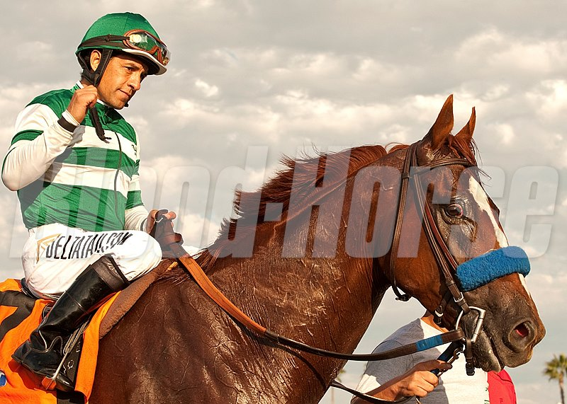 Hronis Racing's Vagabond Shoes and jockey Victor Espinoza are guided into the winner's circle after their victory in the Grade II, $200,000 Del Mar Handicap, Saturday, August 24, 2013 at Del Mar Thoroughbred Club, Del Mar CA.
