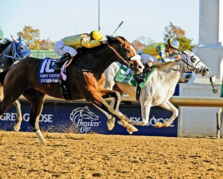 Hansen, with Ramon Dominguez, wins the Grey Goose Breeders' Cup Juvenile at Churchill Downs in Louisville, Ky. Union Rags was second.