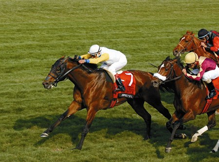 Perfect Soul, with Edgar Prado up, wins the Maker's Mark Mile at Keeneland on April 9, 2004.