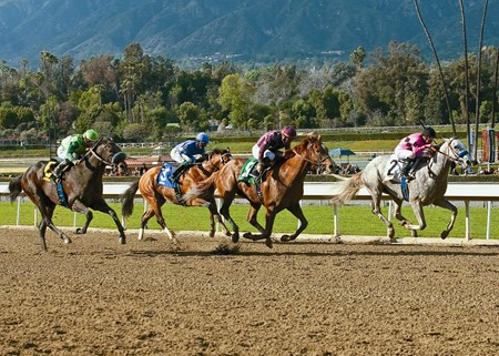 Hear the Ghost (# 5) and jockey Corey Nakatani, gain on the leader, Flashback with Julien Leparoux (#2), after putting away Tiz a Minister (Garrett Gomez), left, and Goldencents (Kevin Krigger), second from left, to win the Grade II, $300,000 San Felipe Stakes.