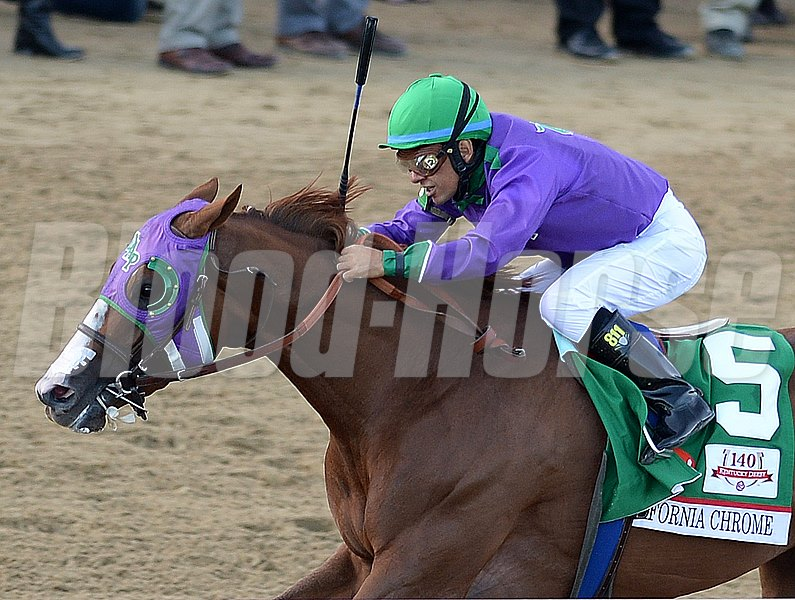 California Chrome is a perfect 4-for-4 this year and has won five straight. He began his 3-year-old campaign against Cal-breds in the California Cup Derby Jan. 25 at Santa Anita Park, winning the 1 1/16-mile race by 5 1/2 lengths. In the March 8 San Felipe Stakes (gr. II) he went wire-to-wire going 1 1/16 miles, topping Midnight Hawk and Kristo in a 7 1/4-length romp. He hit his best stride in the April 5 Santa Anita Derby (gr. I), drawing clear by 5 1/4 lengths over Hoppertunity and Candy Boy.