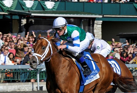 Winning Cause with Julien Leparoux wins the 2013 Coolmore Lexington Stakes at Keeneland.