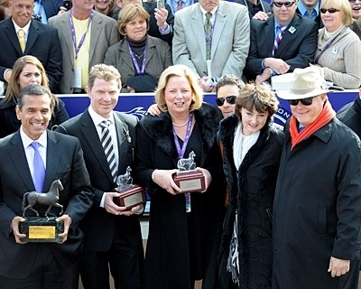 Pluck's connections in the winner's circle for the Breeders' Cup Juvenile Turf.