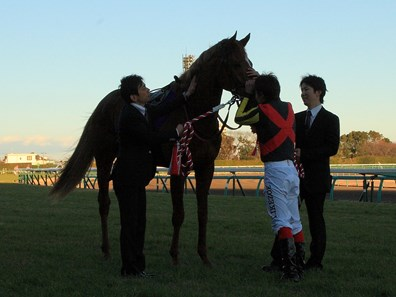 Orfevre is patted by jockey Kenichi Ikezoe after winning the Arima Kinen.