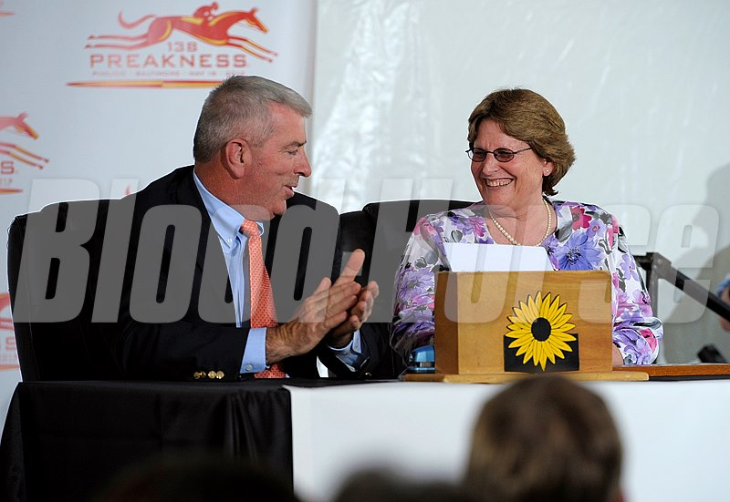 Caption:  l-r, handling pill pull and paperwork are J. Michael Hopkins, executive director with the Marylalnd Racing Commission, and Georganne Hale, Director of Racing/Racing Secretary Preakness week 2013 with the Post Position Draw held at Pimlico on May 15, 2013, in Baltimore, Md. PREAKNESS Draw1 image834 Photo by Anne M. Eberhardt
