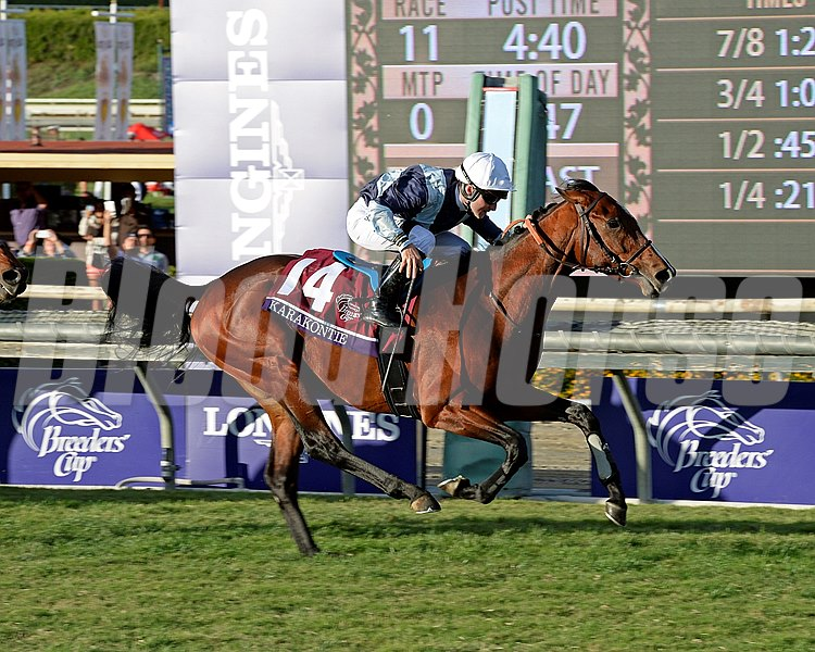Karakontie and jockey Stephanie Pasquier win the Breeders' Cup Mile (gr. I).