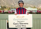 Gary Stevens celebrates win number 5,000in North America Feb. 13 at Santa Anita Park.