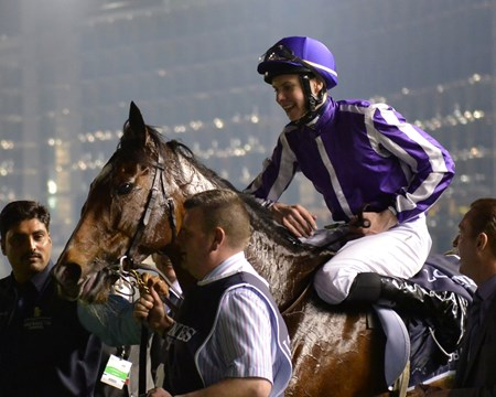 St Nicholas Abbey and Joseph O'Brien celebrate after winning the Dubai Sheema Classic.