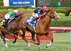 "Irish Mission goes by late to capture The Very One Stakes.<br><a target=""blank"" href=""http://photos.bloodhorse.com/AtTheRaces-1/At-the-Races-2015/i-3jbzrQK"">Order This Photo</a>"