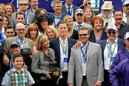 Smiling connections after Goldencents' victory in the Grade I Breeders' Cup Dirt Mile.