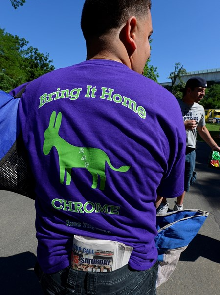 Caption: Bring it home Chrome, common sentiment at Belmont today.