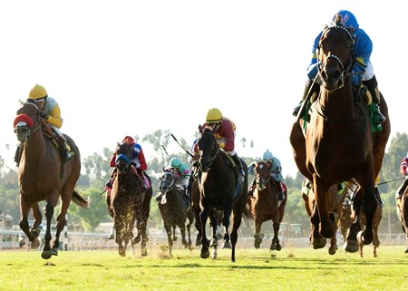 Her Emmynency and Joe Talamo (right) sail home in the $100,000 Surfer Girl Stakes at Santa Anita Park.