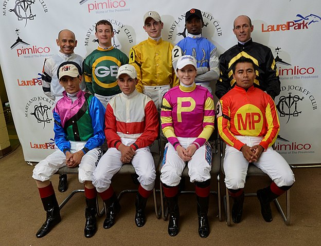 The jockey that competed in the 138th running of the Preakness Stakes at Pimlico in Baltimore, Maryland May 18, 2013.