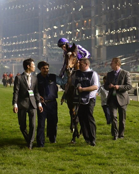 St Nicholas Abbey heads to the winner's circle with jockey Joseph O'Brien after winning the Dubai Sheema Classic at Meydan.