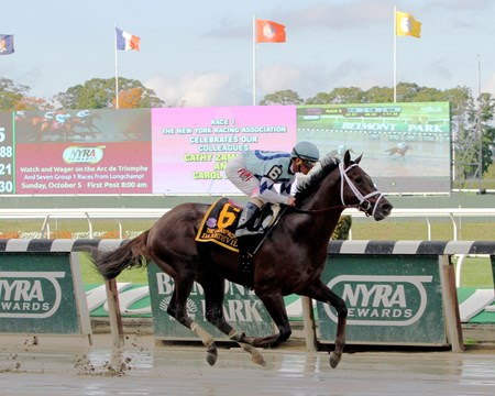 Favored Daredevil cruised to victory in the $500,000 Grade I Champagne Stakes on a sloppy track at Belmont Park, handing trainer Todd Pletcher his third consecutive win in the prestigious race.