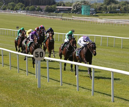 Trading Leather ridden by Kevin Manning wins the TRM Silver Stakes at the Curragh in Ireland