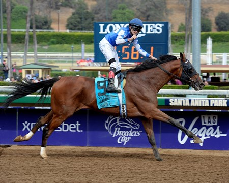 Last the first time past the wire, Cary Street was first when it counted, taking the $200,000 Grade II Las Vegas Marathon easily over favored Irish Surf at Santa Anita Park.