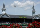 Caption: Twin Spires and roses