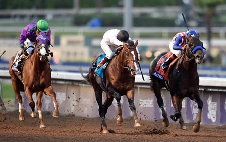 Bayern, Martin Garcia up, holds off Toast Of New York and California Chrome, to win the Breeders' Cup Classic (gr. I).