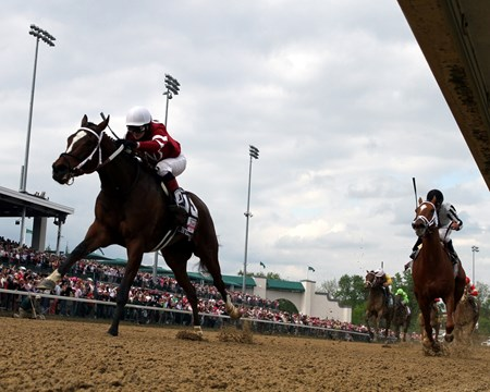 Untapable with Rosie Napravnik up lead at the 1/8th pole over My Miss Sophia with Javier Castellano aboard during the Kentucky Oaks.