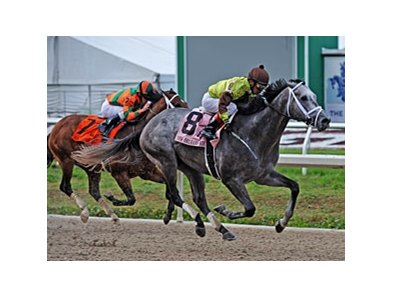 Graydar runs away from  Mark Valeski to win the New Orleans Handicap.