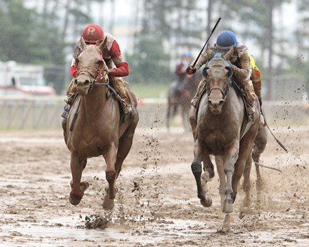 Awesome Flower battles down the stretch to win the Lady Canterbury Stakes at Canterbury Park in Shakopee, Minnesota.