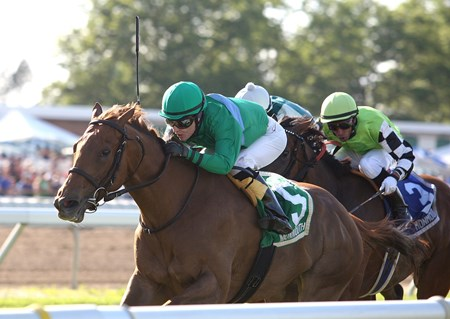 Cornerstone Thoroughbreds' homebred Medea powered her way to victory in the $103,000 Grade III Eatontown Stakes at Monmouth Park.
