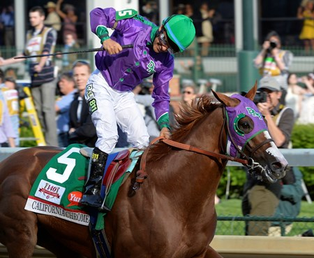 Victor Espinoza is jubilant after winning the 140th running of The Kentucky Derby aboard California Chrome.