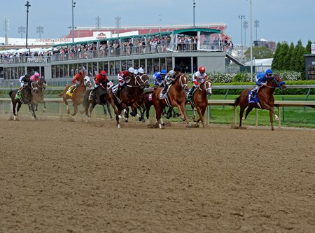 The Kentucky Oaks field first time by at Churchill Downs in Louisville, KY May 2, 2014.
