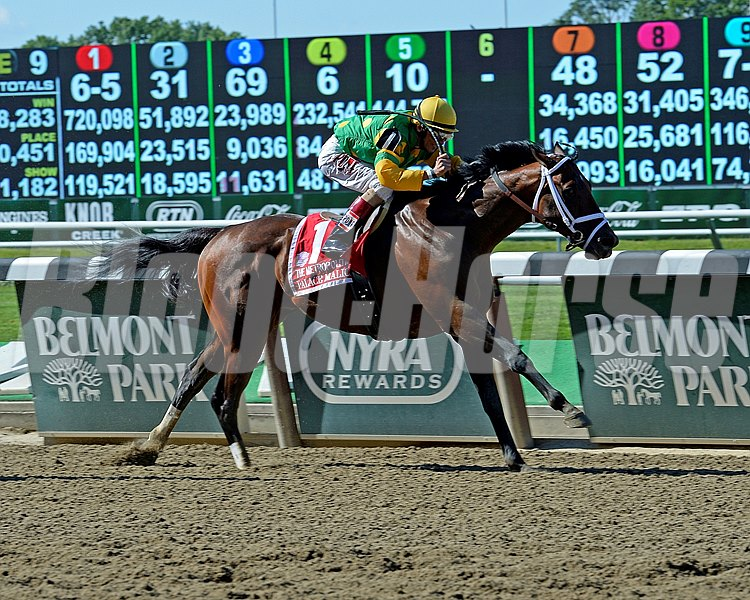 Caption:Palace Malice with John Velazquez wins the Metropolitan