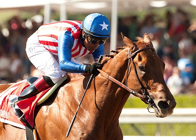 There might as well have been a stop sign on the hindquarters of Kaleem Shah's Dortmund, because no colt was going to pass the massive son of Big Brown in the Grade I $1 million Santa Anita Derby in California.