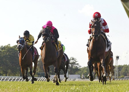 Big Blue Kitten (R) #2 with Joe Bravo riding, won the $500,000 Grade 1 United Nations Stakes at Monmouth Park in Oceanport, N.J. on Saturday July 6, 2013.  Second was Teaks North (C) with Eddie Castro.   Photo By Bill Denver/EQUI-PHOTO.