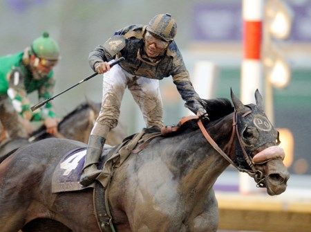 Jockey Alex Trujillio guides Maryfield to the wire in the Grade I Breeders' Cup Filly and Mare Sprint at Monmouth Park on October 26, 2007. That same year she also won the Grade I Ballerina Stakes & the Eclipse Award for Champion Female Sprinter.
