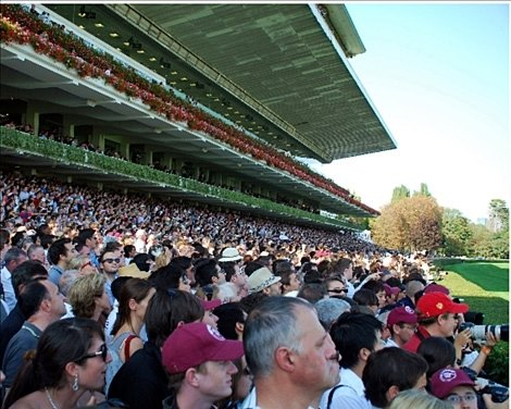 A photo of the Tribune stand at Longchamp, just prior to the 2010 Arc race.