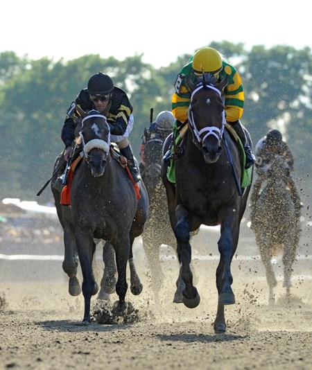 Jockey Mike Smith guides Palace Malice past Jockey Gary Stevens and Oxbow.