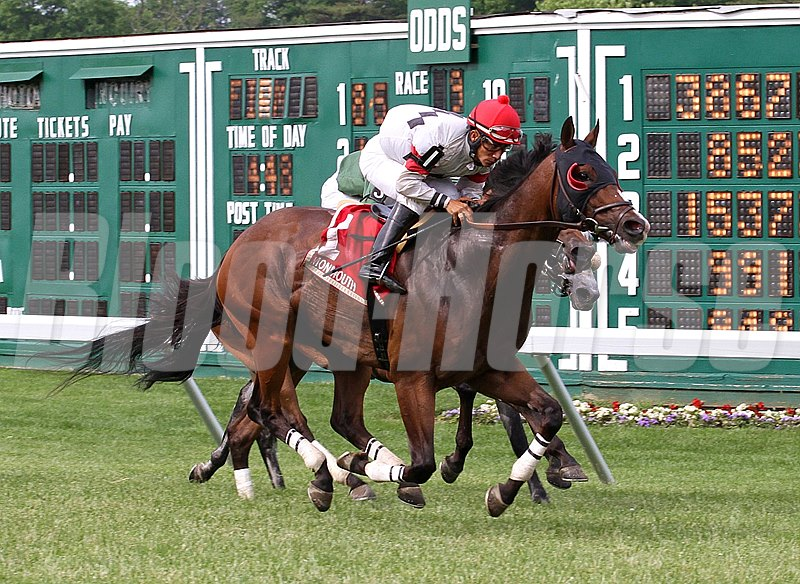 Strong Impact #1 with Paco Lopez riding surges home to win the $60,000 John McSorley Stakes at Monmouth Park in Oceanport, New Jersey.