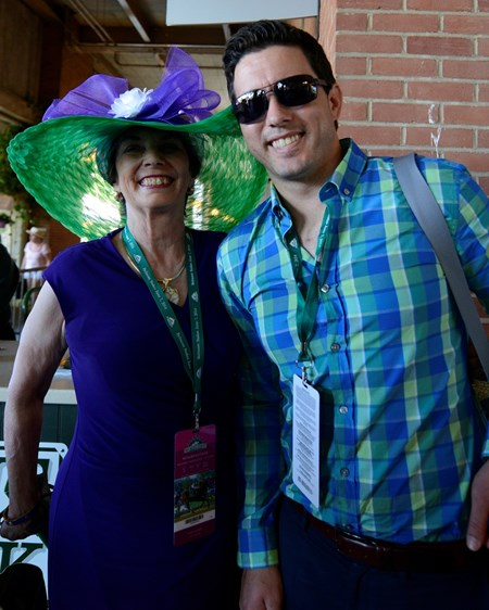 Caption: California Chrome fans in the colors