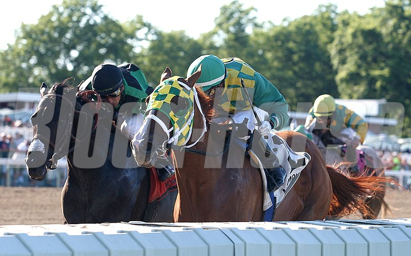 Irish You Well #2 (right) with Orlando Bocachica riding won the $100,000 Long Branch Stakes at Monmouth Park.