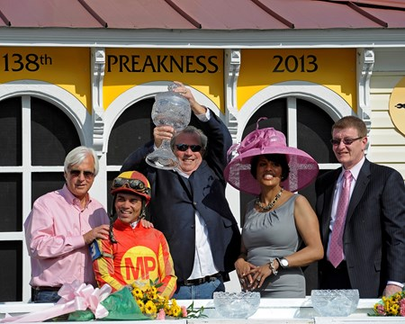 Caption: PRES: l-r, trainer Bob Baffert, Joel Rosario, owner Mike Pegram, Baltimore Mayor Stephanie Rawlings Blake, and Tom Chukas, Pimlico official.