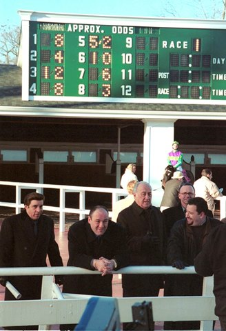 James Gandolfini who passed away of a heart attack on June 19, 2013, is shown playing Tony Soprano during an episode of the Sopranos at Monmouth Park Racetrack in Oceanport, New Jersey with Gandolfini were Steven Van Sant and Jerry Adler.