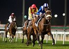 Almoonqith leads the way home in the Nad al Sheba Trophy.