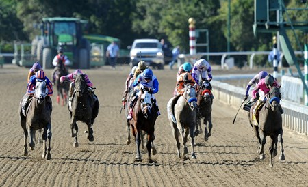 New Year's Day (inside), and Martin Garcia, run by Havana (left), to win the Breeders' Cup Juvenile.