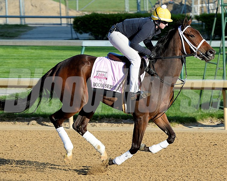 Caption:Room Service Kentucky Derby contenders in training at the Churchill Downs in Louisville, Ky., on April 19, 2014. KentuckyDerby 1Works4_23 image8000 Photo by Anne M. Eberhardt