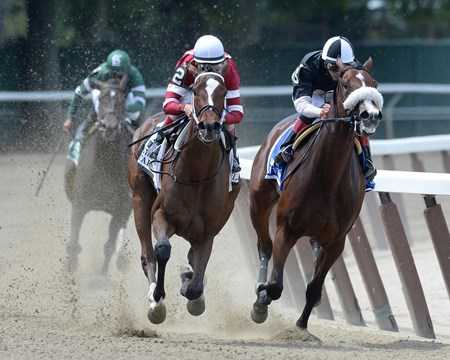 Final turn of the Grade I Mother Goose Stakes at Belmont Park.