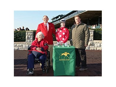 The Fall Meet Leaders: Owners Ken and Sarah Ramsey, Jockey Rosie Napravnik, and Trainer Michael Maker.